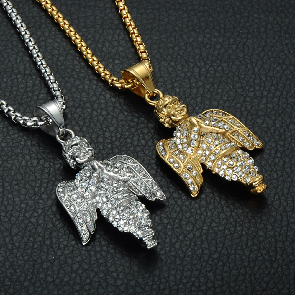 14k Angel Prayer Silver Stainless Steel Iced Out Simulated Diamond Chain Pendant