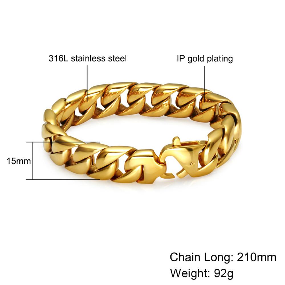 14k Gold Hip Hop 15MM Mens Cuban Link Titanium Stainless Steel Chain Bracelet