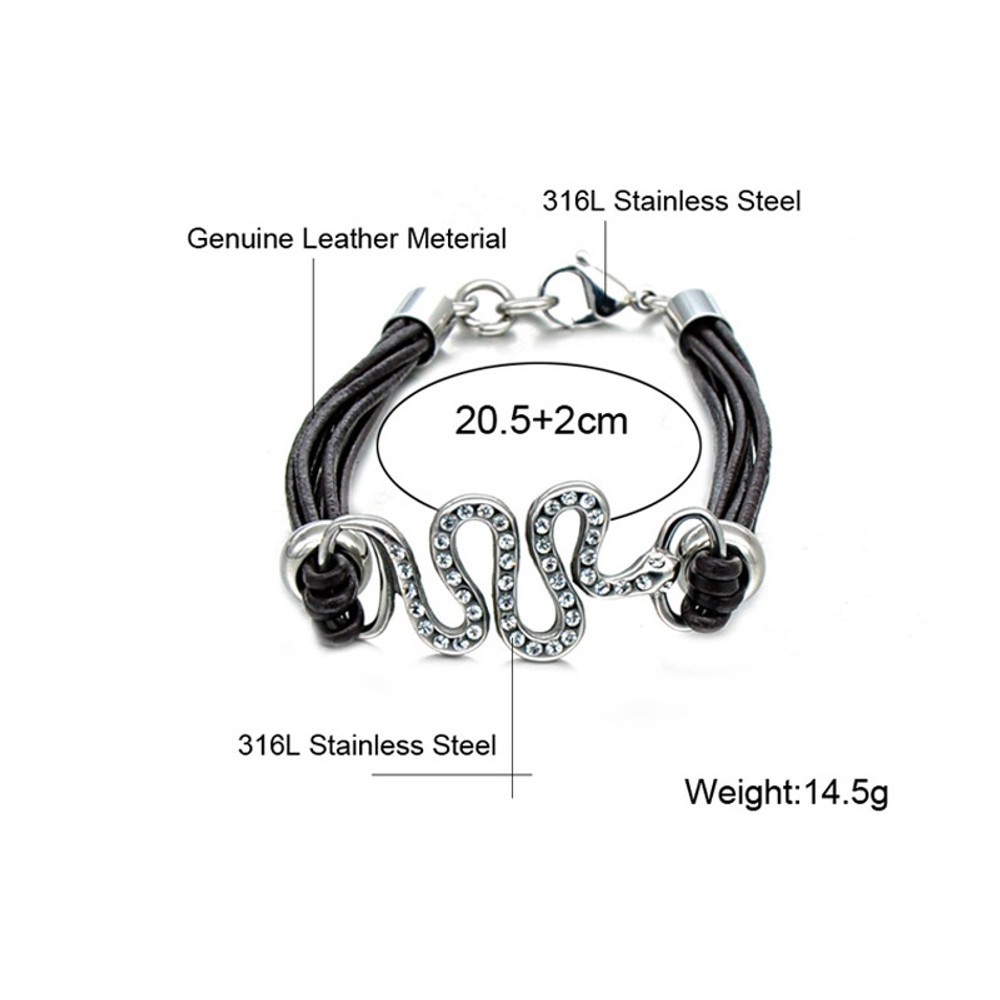 Mens Leather Simulated Diamond Pave Stainless Steel Snake Bracelet