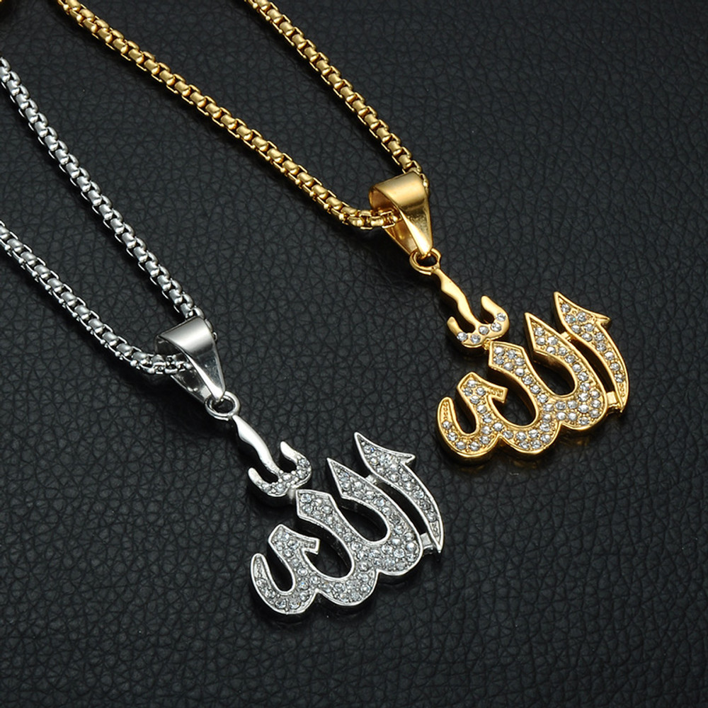 Gold Silver Iced Out Stainless Steel Allah Bling Pendant Chain Necklace