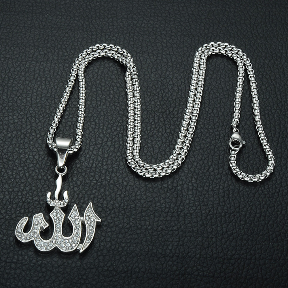 Mens 14k Gold Silver Iced Out Stainless Steel Allah Bling Pendant Chain Necklace