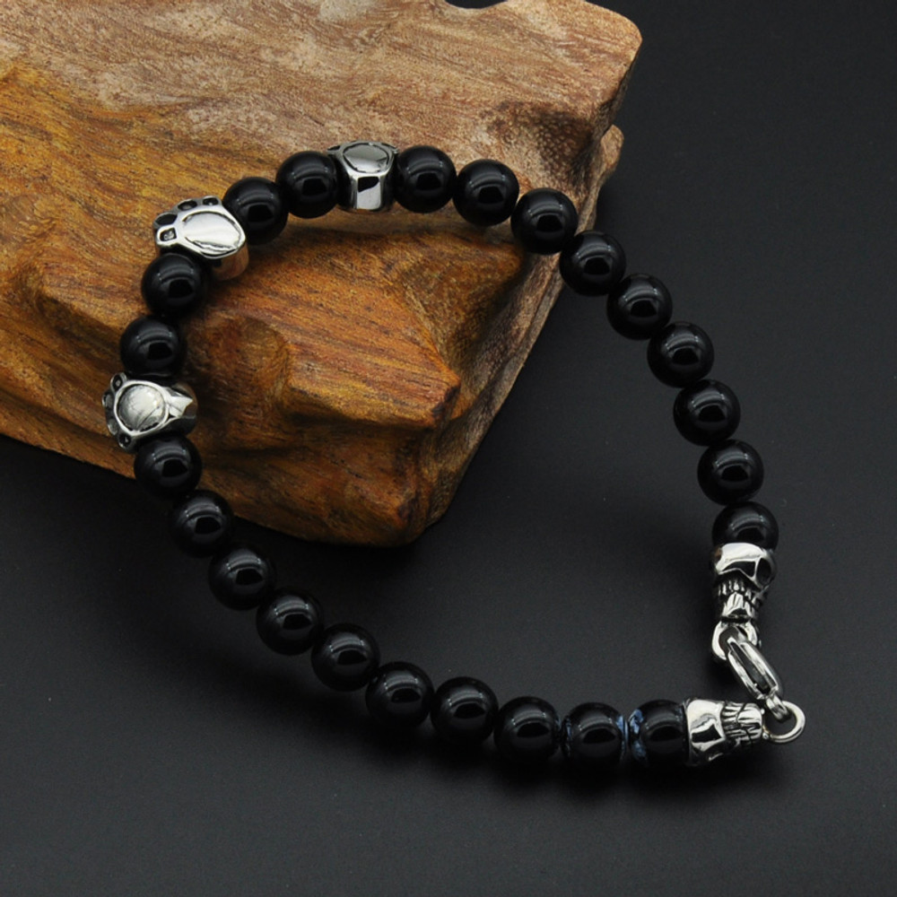 Men's Black Onyx Loose Stone Bear's Paw Skull Skeleton Bracelet