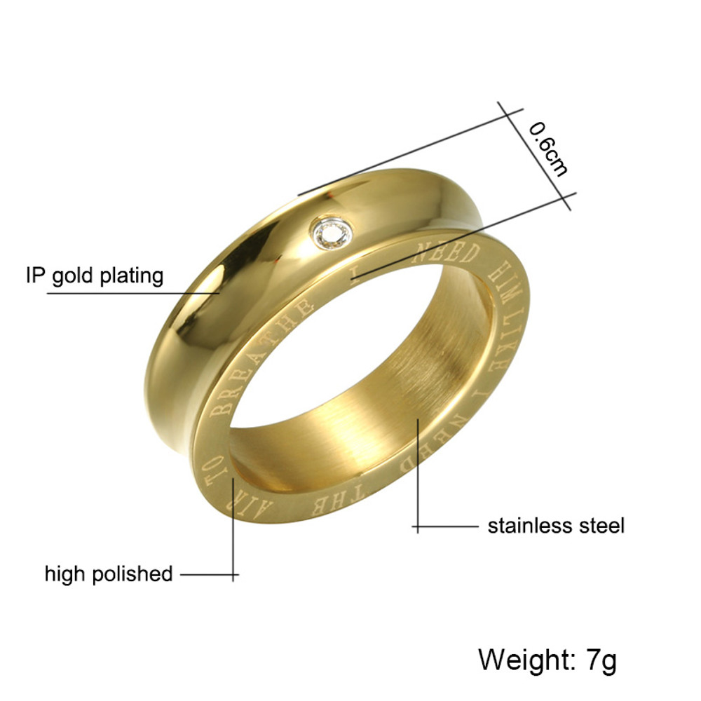 Couples 14k Gold Simulated Diamond High Polished Stainless Steel I Need Him Love Ring