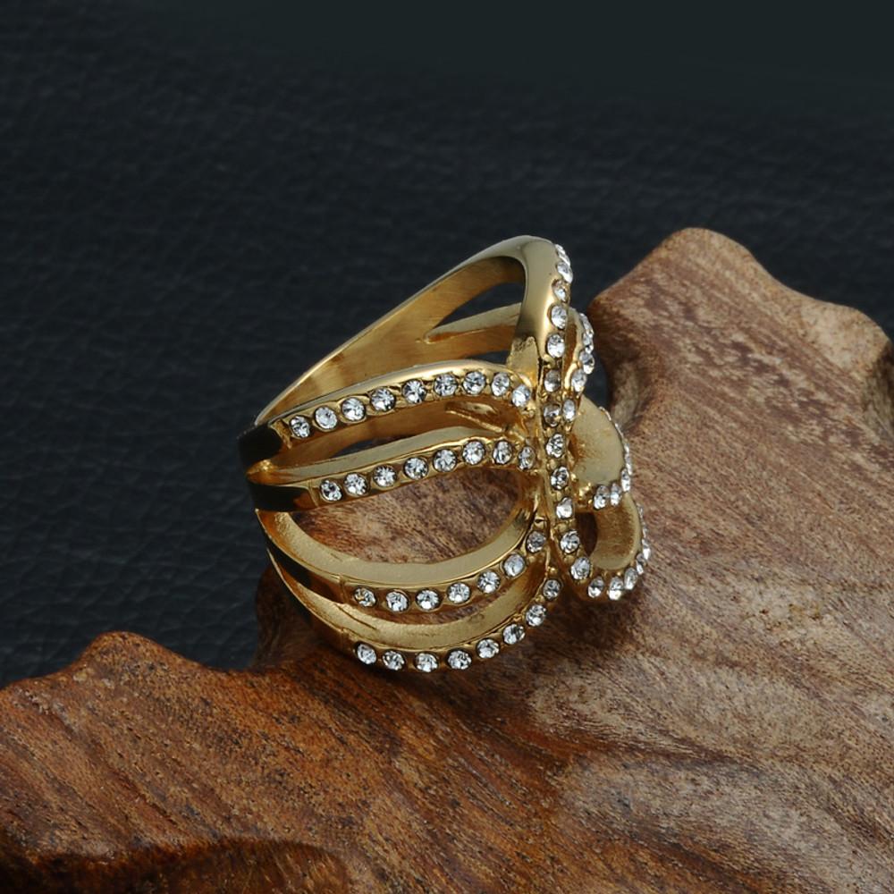 14k Gold AAA Lab Diamonds Stone Hollow Titanium Stainless Steel Love Ring