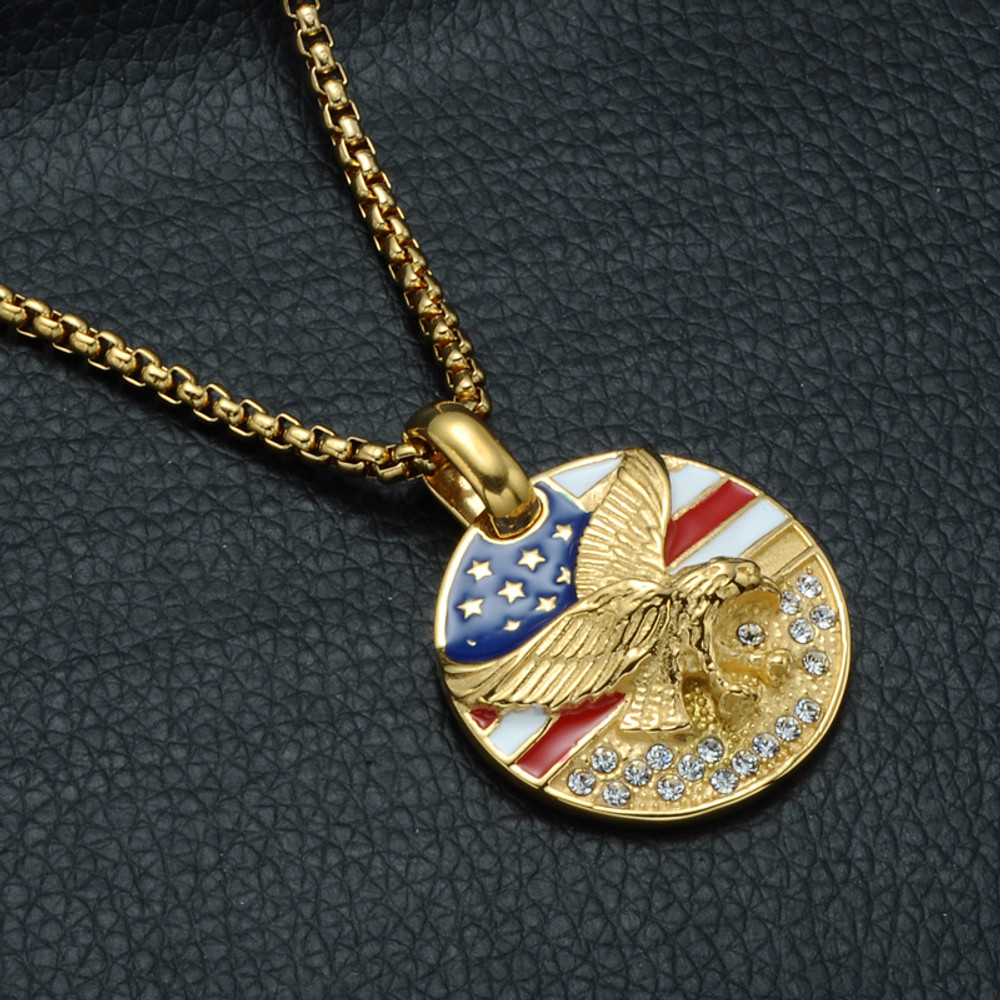 American Flag Eagle Bling 14k Gold Stainless Steel Round Pendant Chain Necklace Bling Jewelz
