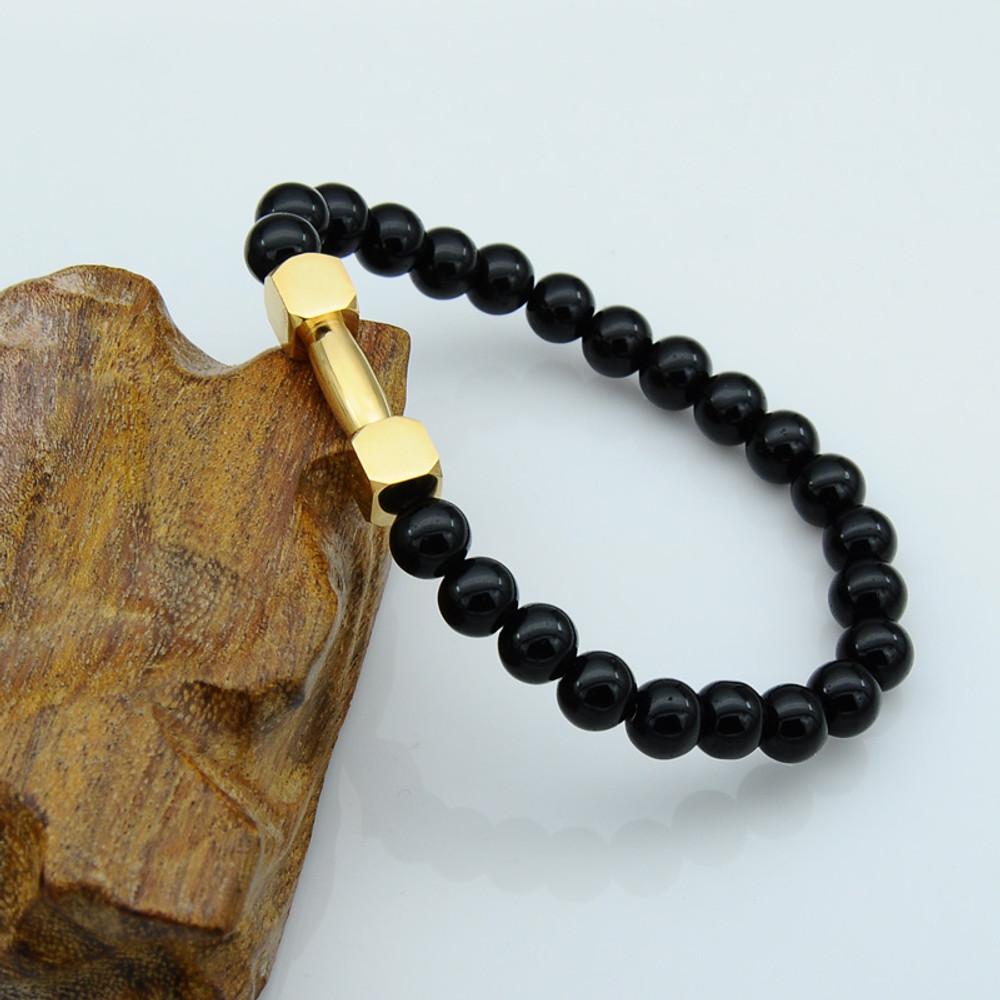 Mens Natural Tiger Eye Lava Stone Stainless Steel Bracelet