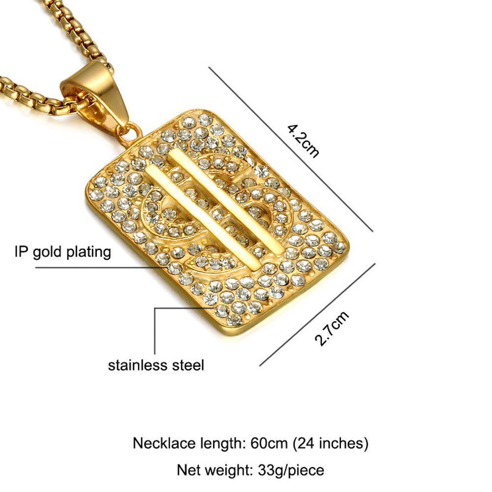 14k Gold Bling Stainless Steel Lab Diamond Dollar Sign Iced Out Pendant Chain Necklace