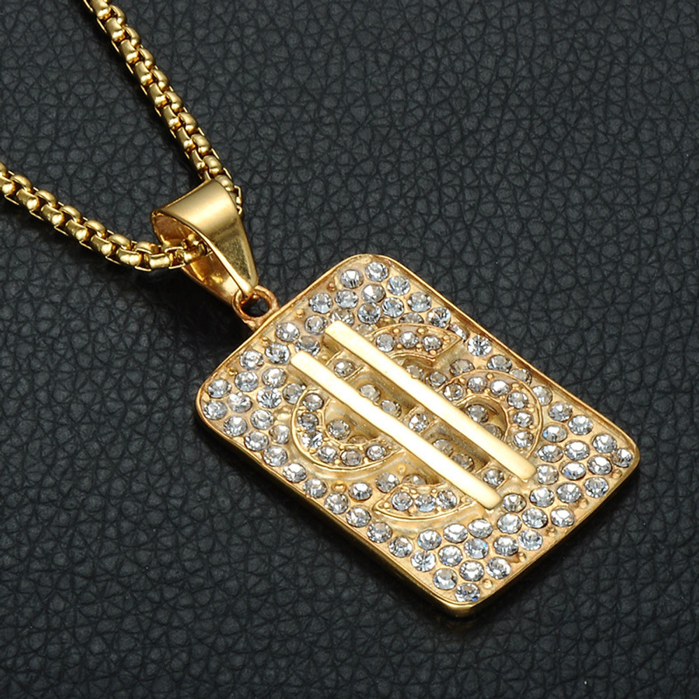 Iced Out Dollar Sign Pendant
