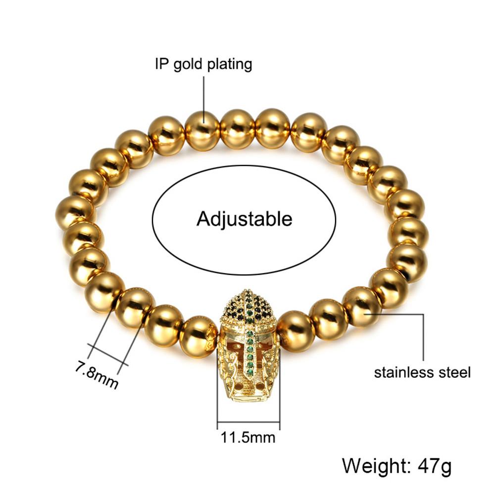 Mens 14k Gold Silver Stainless Steel Spartan Warrior Gladiator Helmet Bracelet