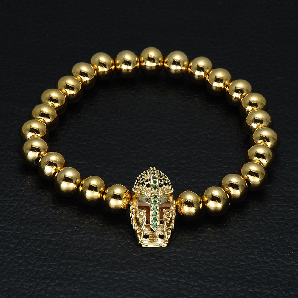 14k Gold Spartan Warrior Gladiator Helmet Bracelet