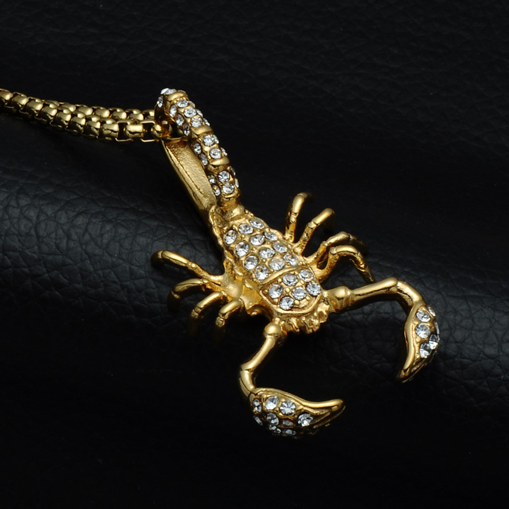 Mens 14k Gold Lab Diamond Bling Scorpion Stainless Steel Pendant Chain Necklace