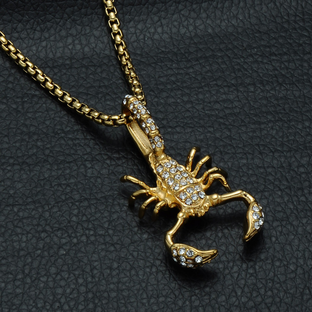 Gold Scorpion Stainless Steel Pendant
