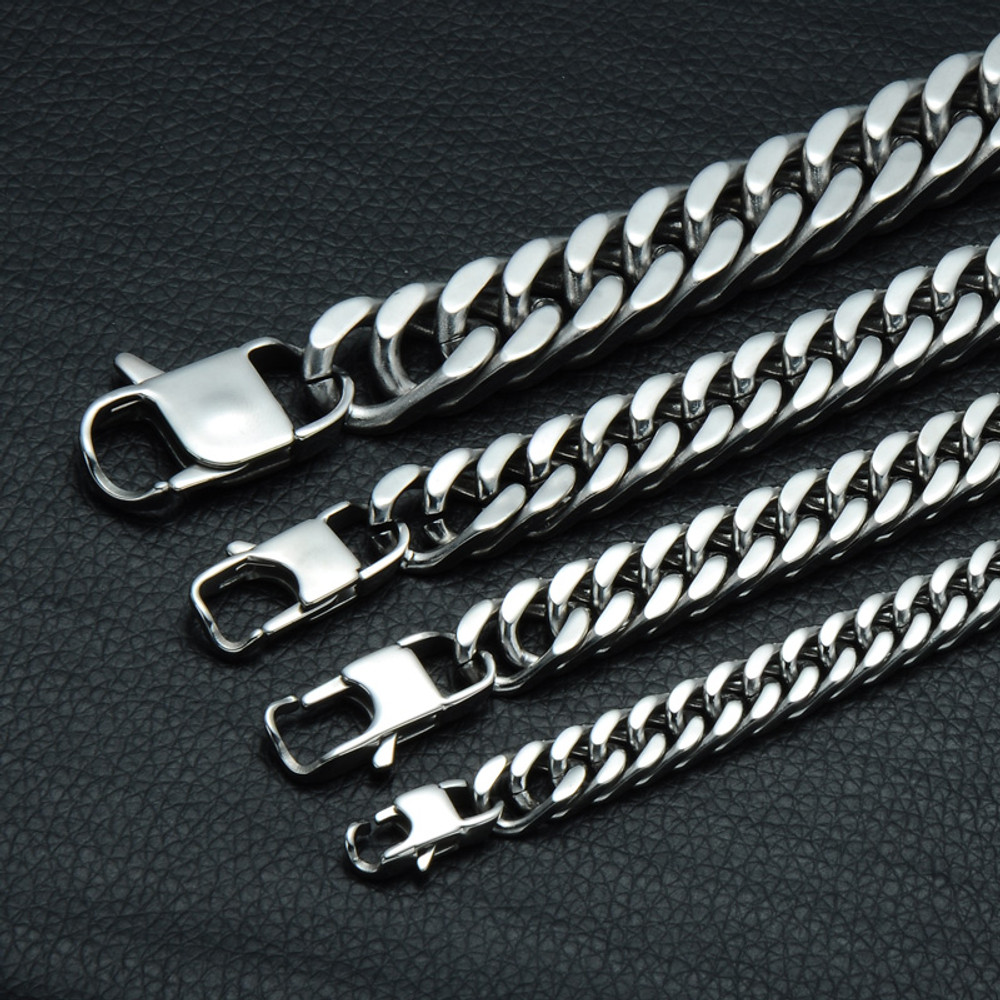 Mens Double Link Round Silver Stainless Steel Cuban Bracelet Bling