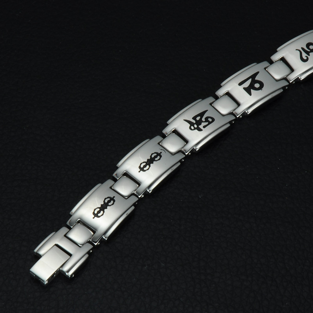 Buddhism Six Words Mantra OM MANI PADME HUM Germanium Mens Hologram Bracelet
