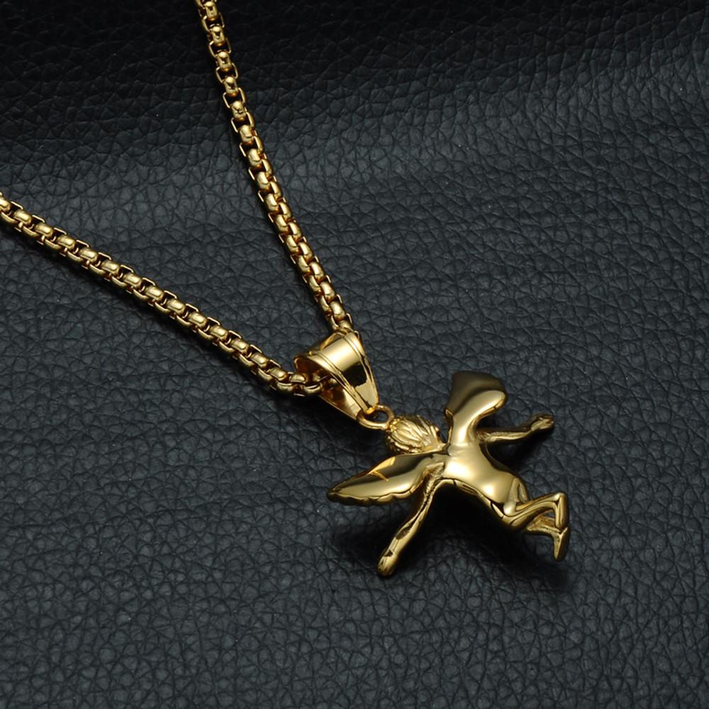 Mens 14k Gold Open Arm Angel Of Love Lab Diamond Stainless Steel Cherub Pendant Chain