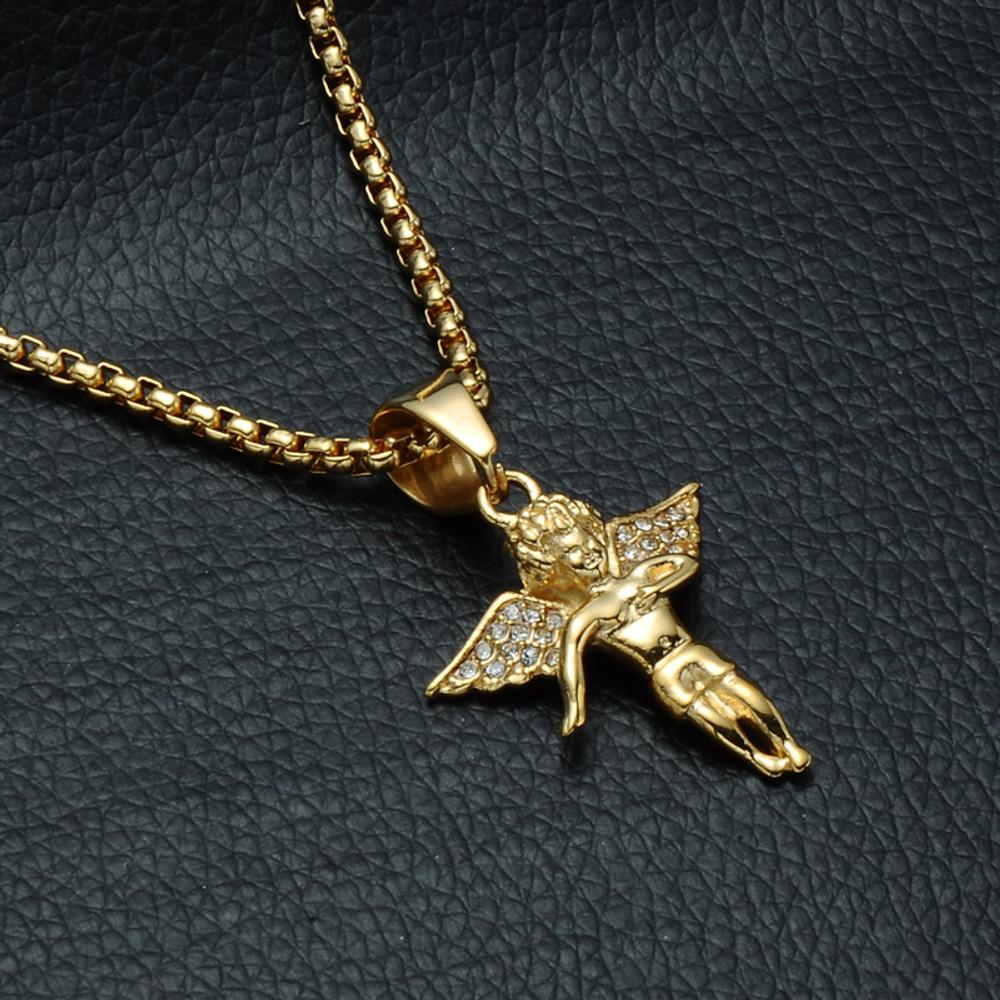 Angel Of Wrath Lab Diamond Stainless Steel Cherub Pendant