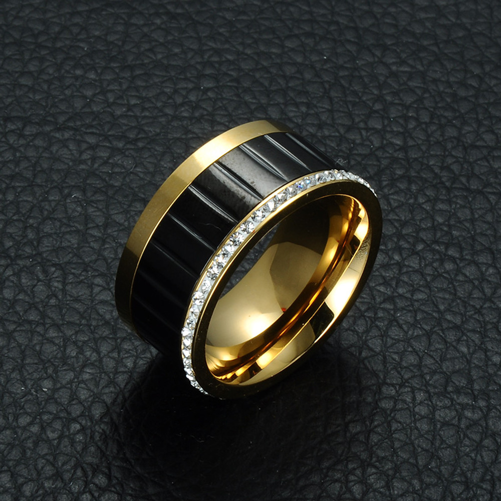 Mens Inlaid Rose 14k Gold Silver Titanium Stainless Steel Lab Diamond Ring