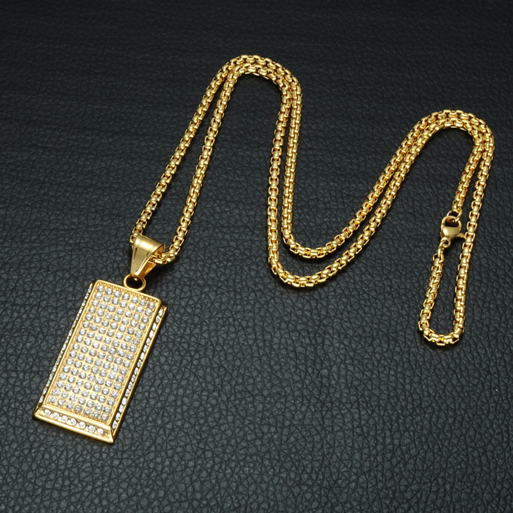 14k Gold Micro Pave Full Lab Diamond Stainless Steel 7 Rows Of Ice Dog Tag Pendant