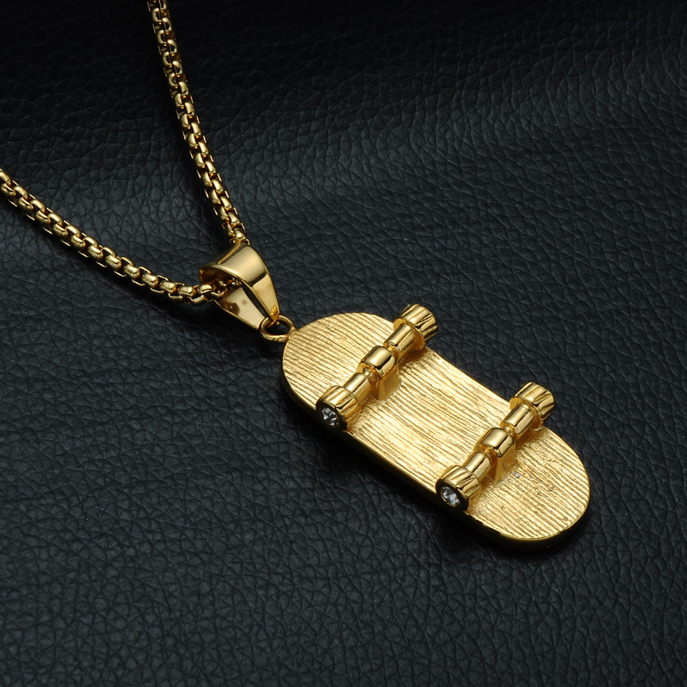 14k Gold Iced Out Lab Diamond Titanium Stainless Steel Skateboard Chain Pendant