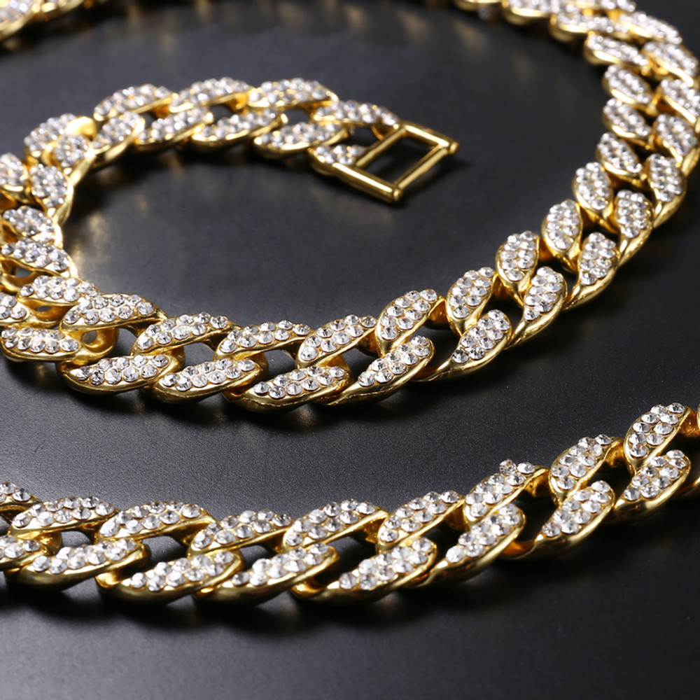 14k Gold 15mm 30inch Micro Pave Hip Hop Miami Curb Cuban Link Iced Out Chain Necklace