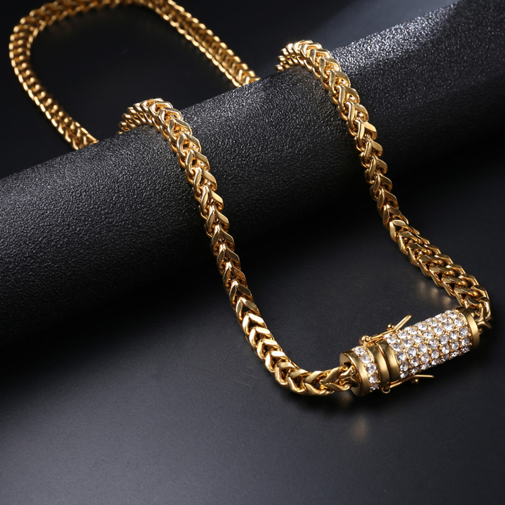 Hip Hop Casual 18k Gold Flooded Ice Stainless Steel Franco Link Chain Necklace