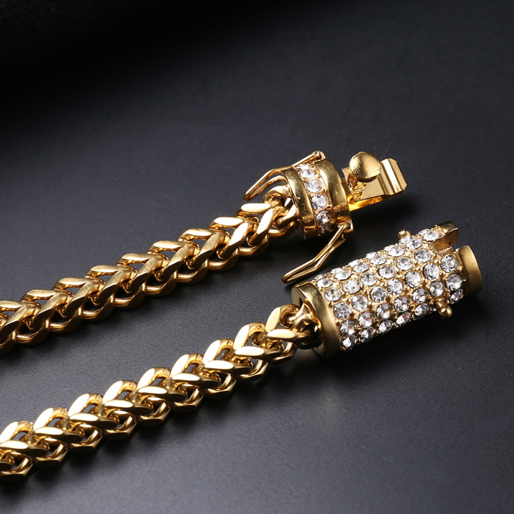 Mens 14k Gold Silver Stainless Steel Iced Out Lab Diamond Franco Cuban Link Chain