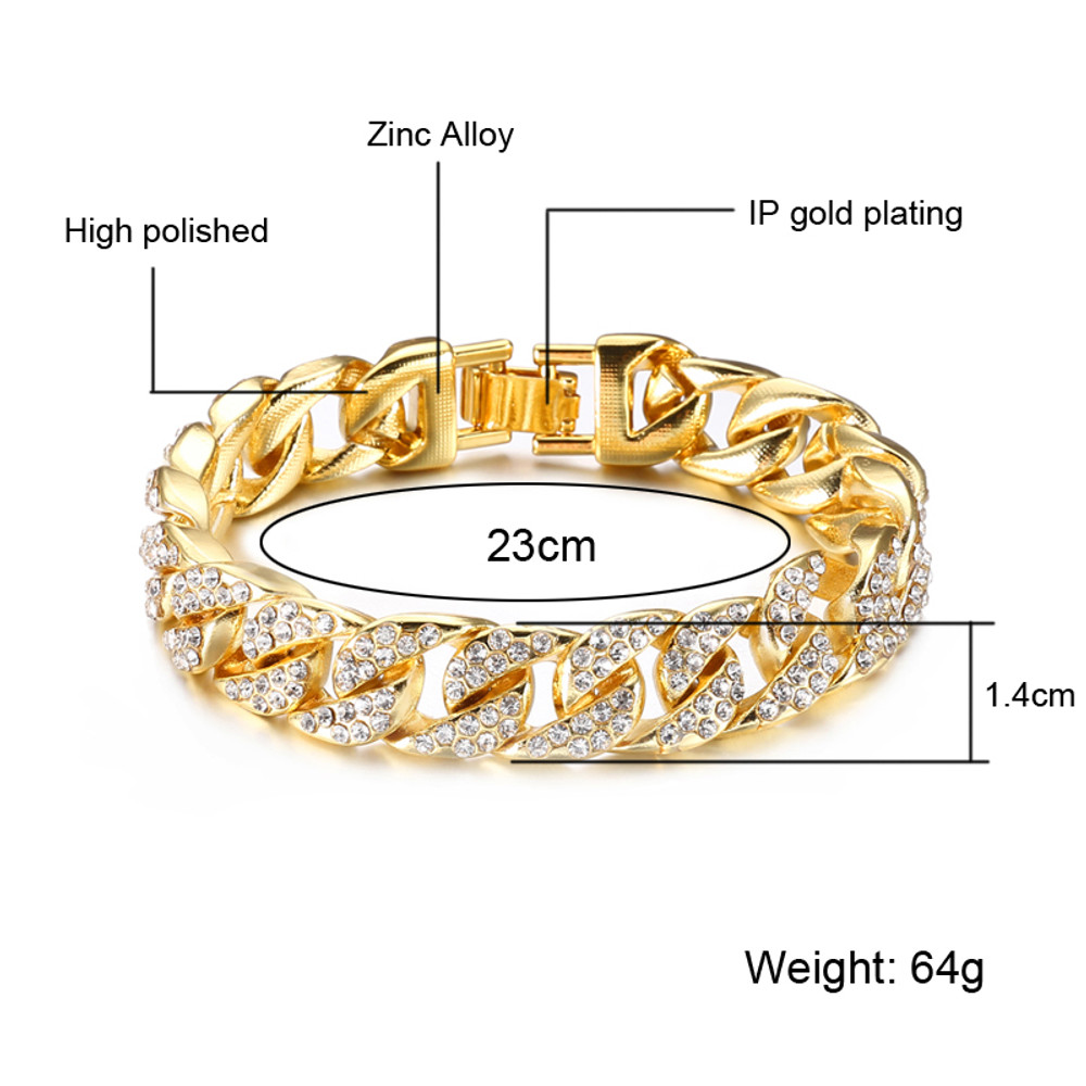 Men's Thick Full Lab Diamond Micro Pave 14k Gold Miami Cuban Link Chain Bracelet