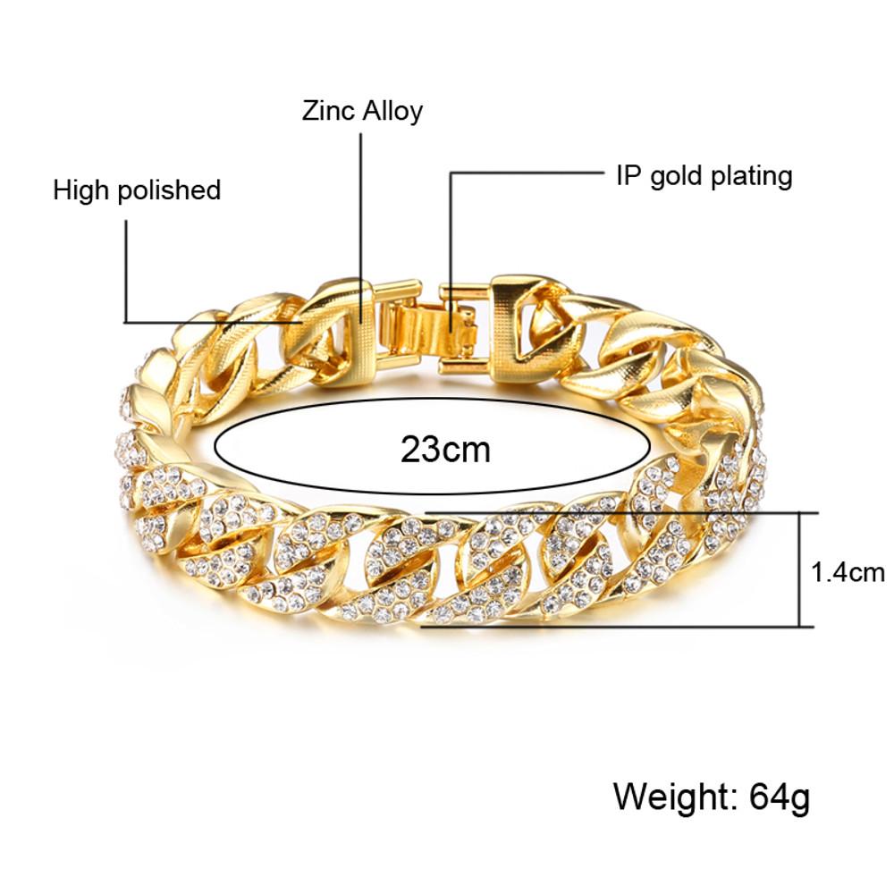 Men's Thick Full Lab Diamond Micro Pave 14k Gold Miami Cuban Link Chain Bracelet