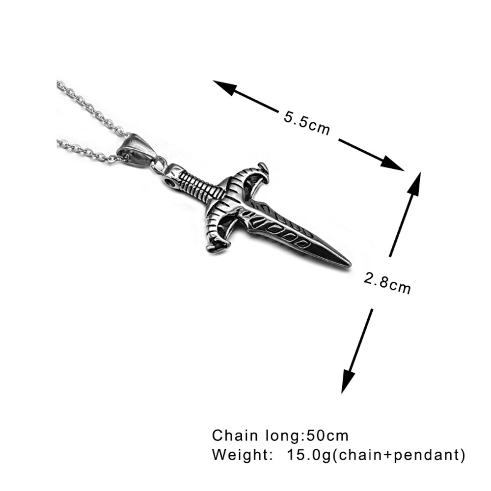 Mens 316L Stainless Steel Sword Dagger Pendant Chain Necklace