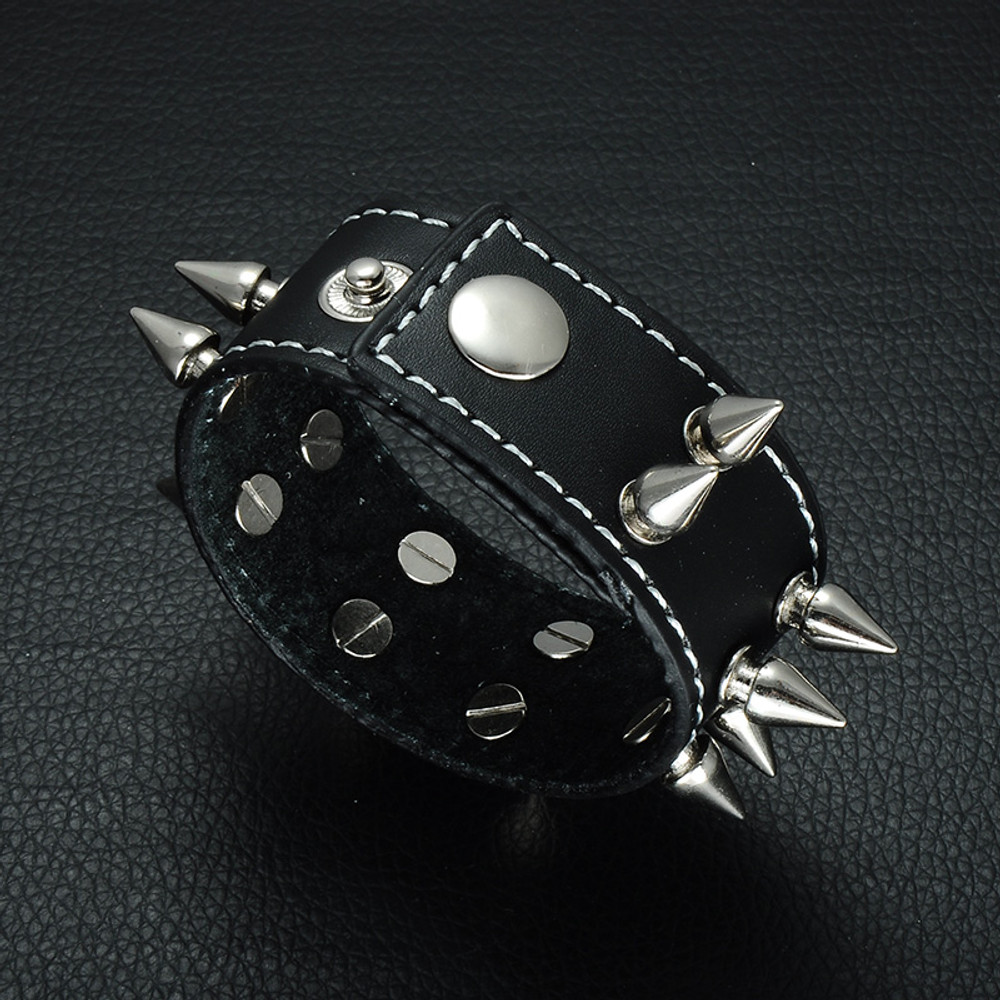 Mens Punk Rocker Spikes Rivets Leather Bracelet