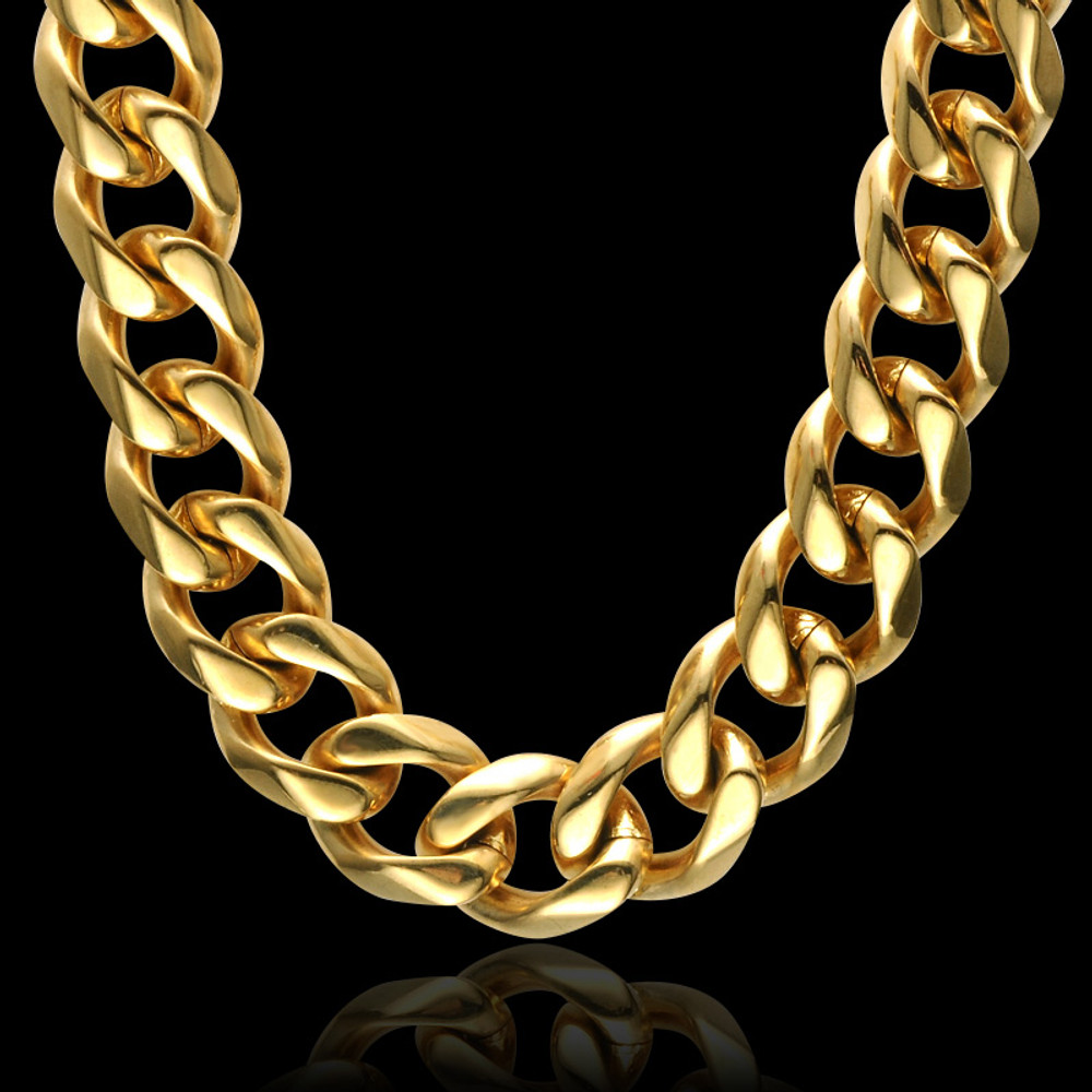 Hip Hop 24 INCH 13MM 14k Gold Heavy Titanium Stainless Steel Curb Cuban Link Chain Necklace