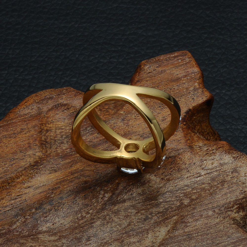 Ladies 14k Gold Titanium Stainless Steel AAA Simulated Diamond Bow Knot Iced Out Ring