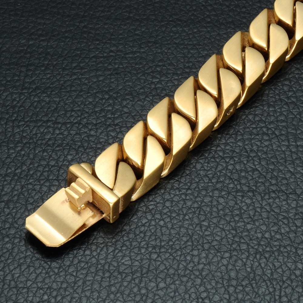 Mens Curb Cuban Link 14k Gold Silver 316L Stainless Steel Bracelet