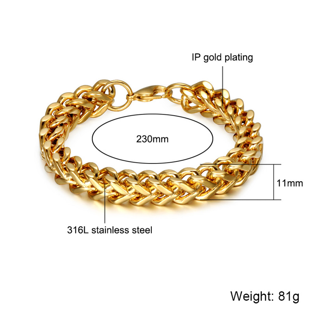 14k Gold Mens Franco Foxtail 316L Stainless Steel Link Chain Bracelet