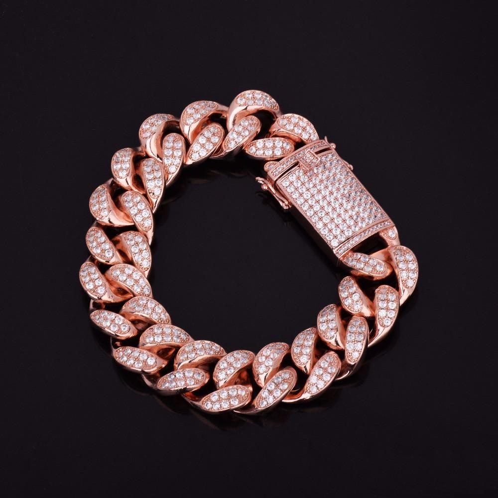 Mens Big Boy 18mm Chunky Iced Lab Diamond Miami Cuban Link Hip Hop Bracelet
