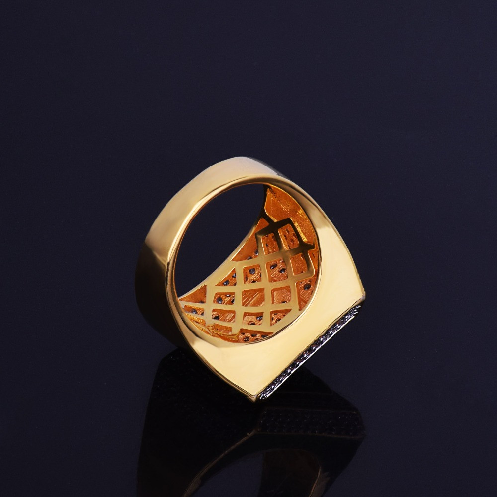 AAA True Micro Pave Square Ice 18k Gold .925 Silver Fully Iced Hip Hop Ring