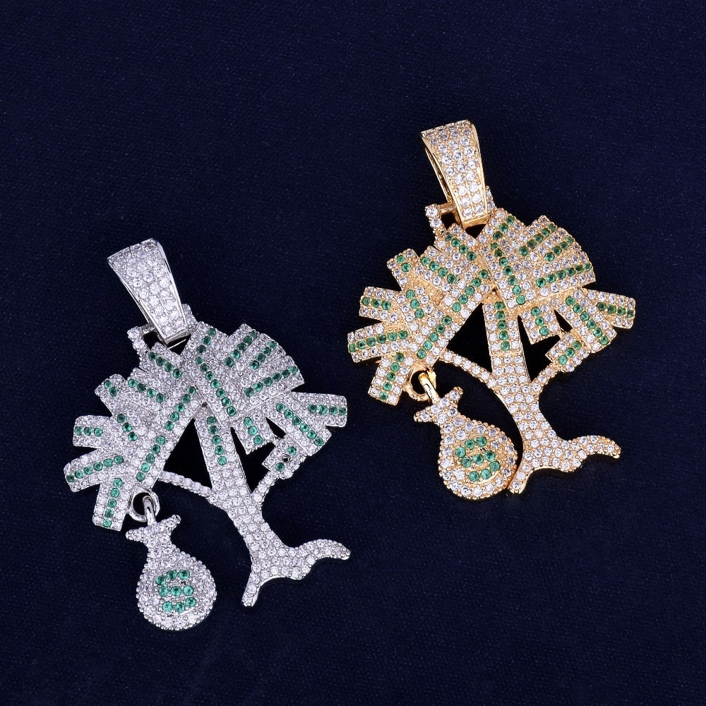 Iced Out Money Tree Pendant