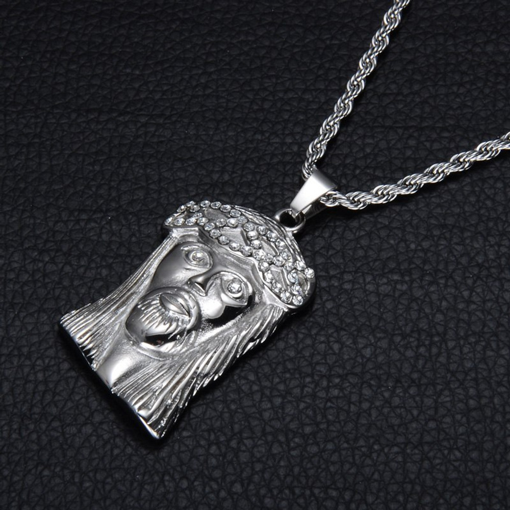 .925 Iced Out Lab Diamond Jesus Piece Silver Stainless Steel No Fade Chain Pendant