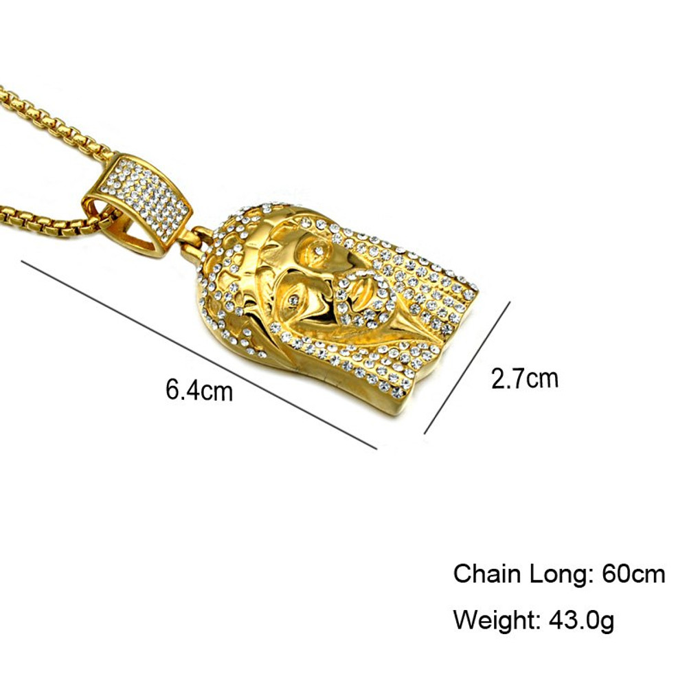 14k Gold Silver Titanium Stainless Steel Iced Out Bling Lab Diamond Jesus Piece Chain Pendant
