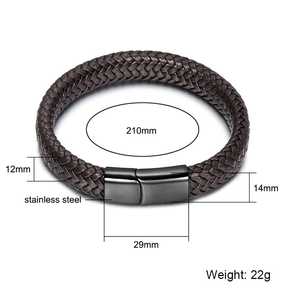 Black Braid Genuine Leather Stainless Steel Mens ID Bracelet