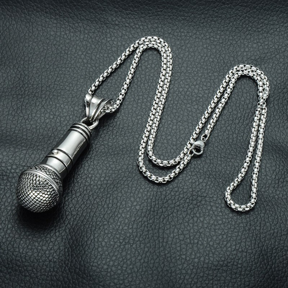 14k Gold Silver Microphone One Mic Stainless Steel Titanium Chain Pendant
