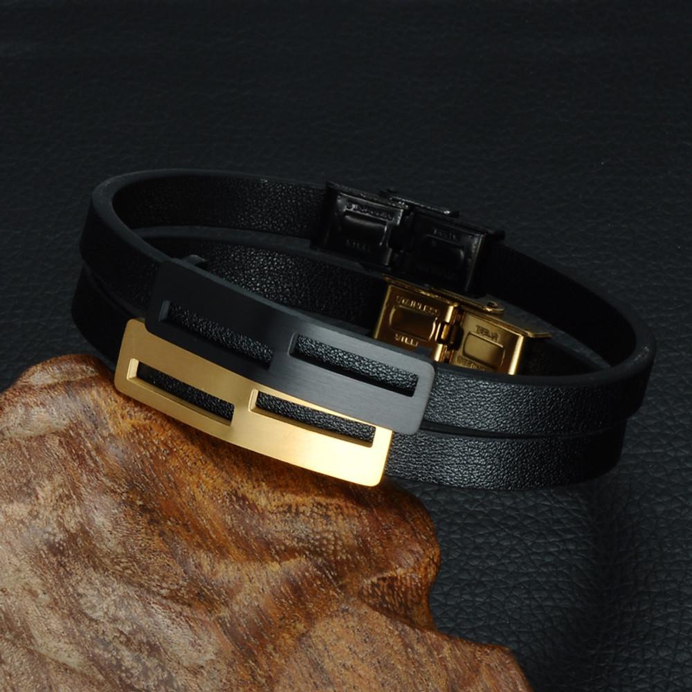 Mens Genuine Leather Stainless Steel Bracelet