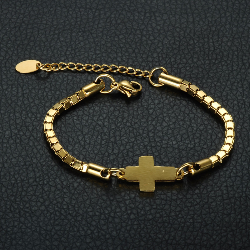 14k Gold Stainless Steel Ladies Christian Prayer Cross Bracelet