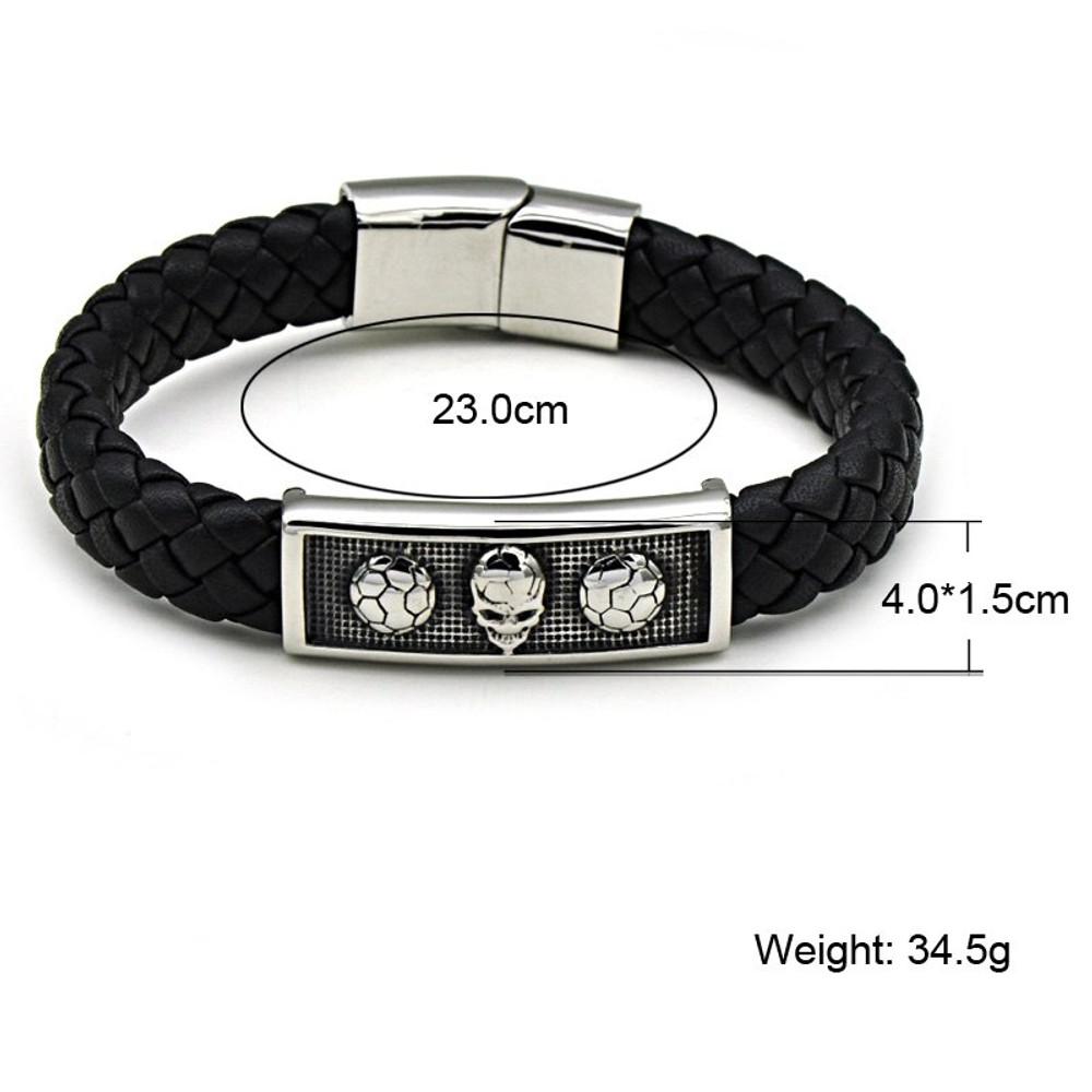 Mens Alien Soccer Vintage Genuine Leather Stainless Steel Bracelet