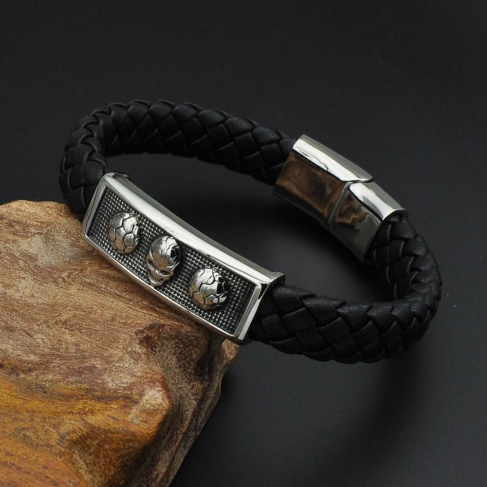 Mens Alien Soccer Stainless Steel Bracelet