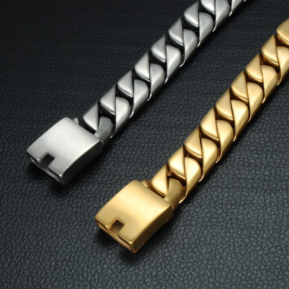 14k Gold Silver 16mm 316L Stainless Steel Curb Cuban Link Chain Bracelet