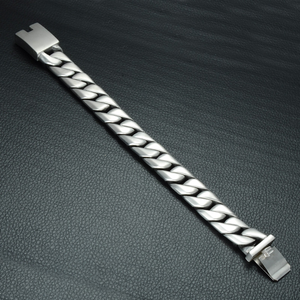 .925 Silver 16mm 316L Stainless Steel Curb Cuban Link Chain Bracelet