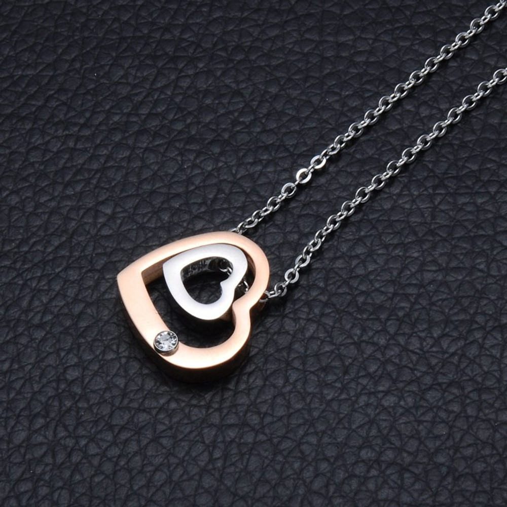 Rose Gold Stainless Steel Double Heart Simulated Diamond Chain Necklace