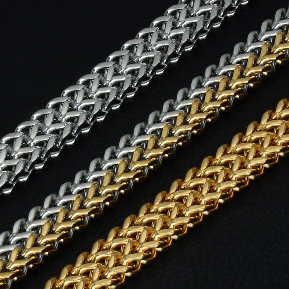Mens 14k Gold Two Tone Silver 12mm Double Foxtail Box Link Titanium Stainless Steel Bracelet