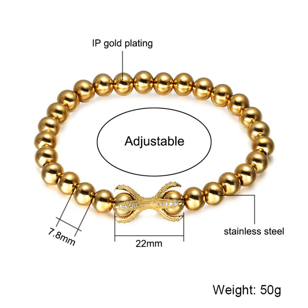 Lab Diamond Adjustable 14k Gold Silver Black Beaded Bracelet